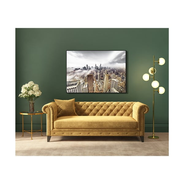 Tablou din sticlă Styler Silver Golden City, 121 x 81 cm