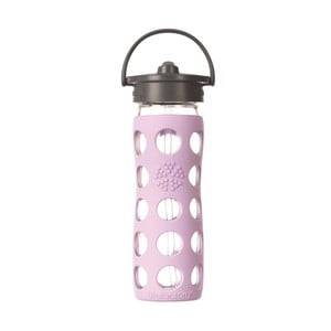 Sticlă de voiaj cu pai, din sticlă, cu protecție din silicon, Lifefactory Lilac, 475 ml