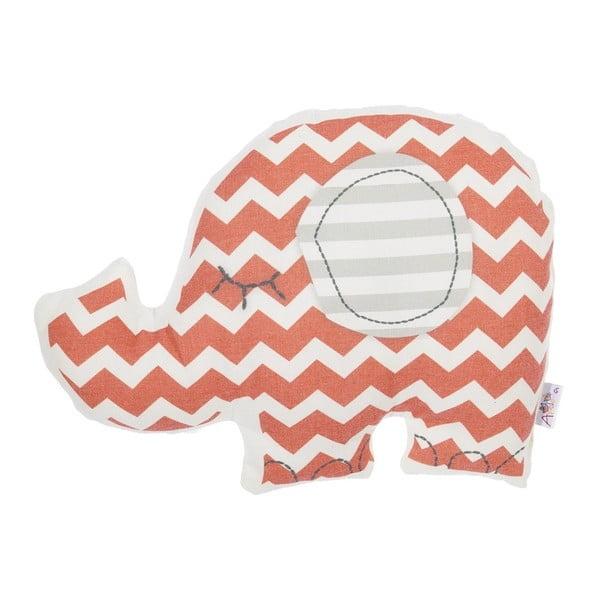 Pernă din amestec de bumbac pentru copii Apolena Pillow Toy Elephant, 34 x 24 cm, roșu