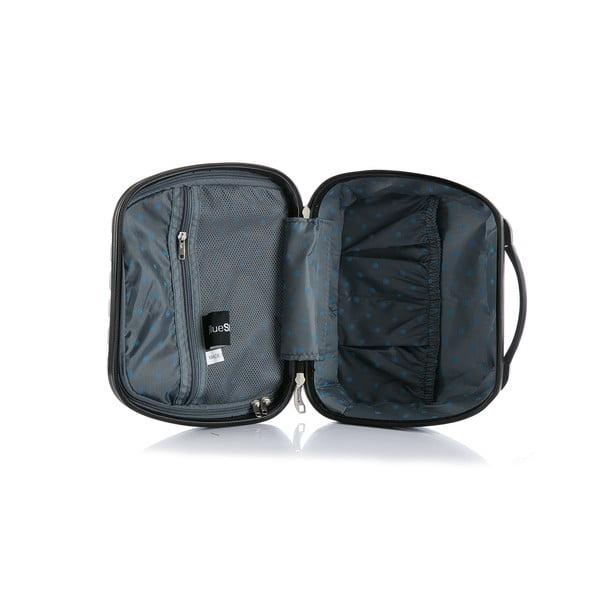 Cestovní kufr ve stříbrné barvě s příručním zavazadlem Blue Star Prague, 47l