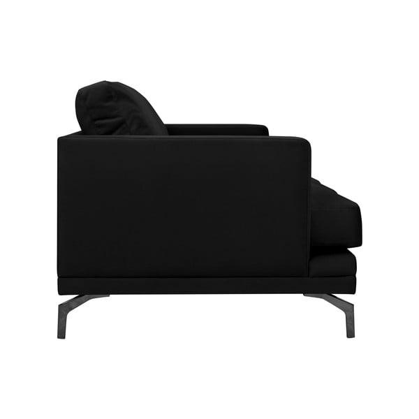 Černá trojmístná pohovka s podnožím v černé barvě Windsor & Co Sofas Jupiter