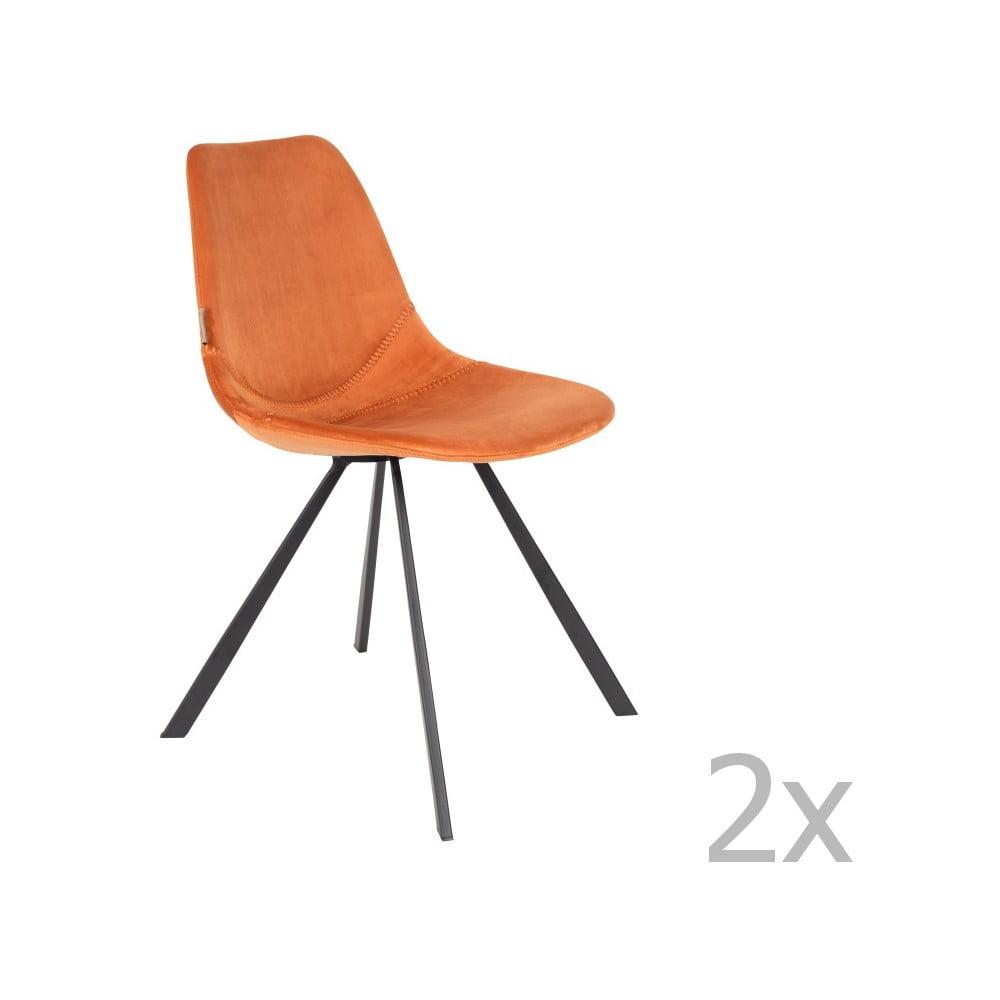 Sada 2 oranžových židlí se sametovým potahem Dutchbone Franky