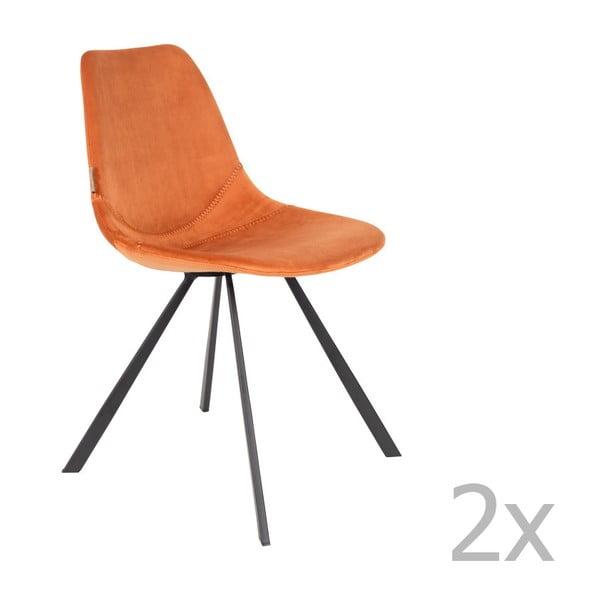 Sada 2 oranžových stoličiek so zamatovým poťahom Dutchbone Franky