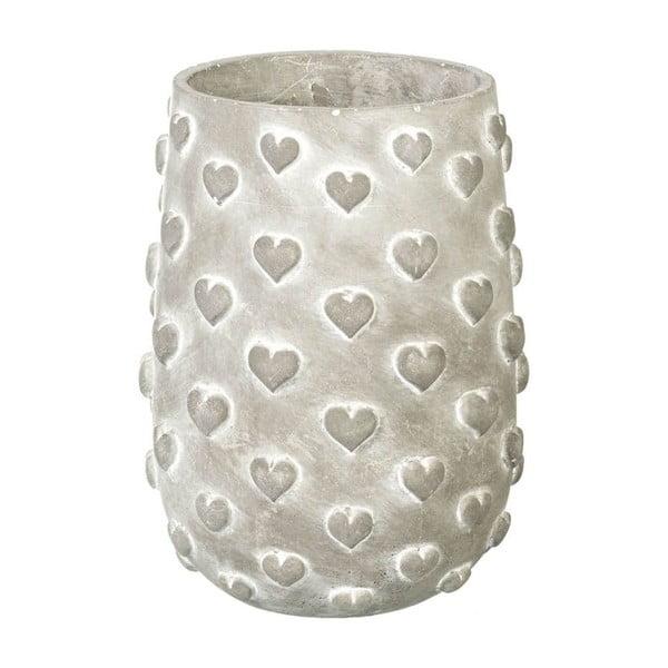 Květináč Concrete Hearts, 23x17x17 cm