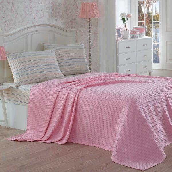 Lehký přehoz s prostěradlem a povlaky na polštáře Gofre Pink, 200x230 cm