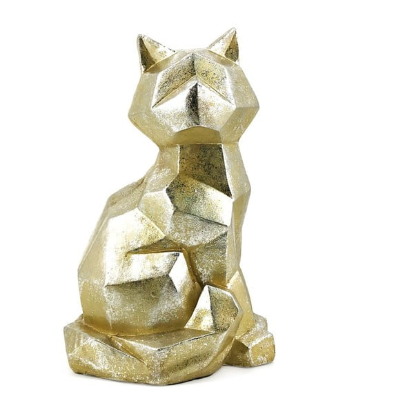 Dekorativní soška z kamene ve zlaté barvě Moycor Geometric Cat