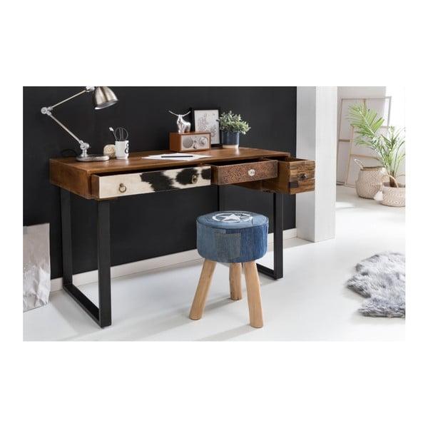 Pracovní stůl se 3 zásuvkami z masivního mangového dřeva Skyport PATNA