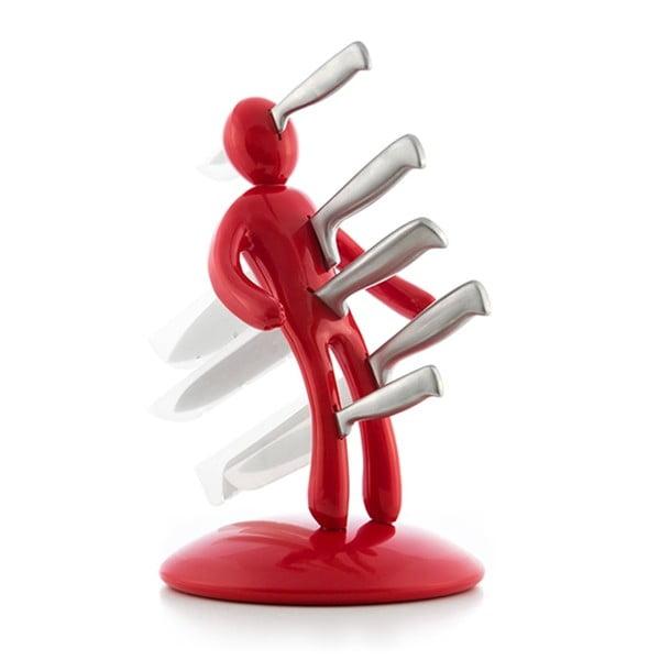 Set 5 cuțite din inox și suport InnovaGoods Vooddoo, roșu