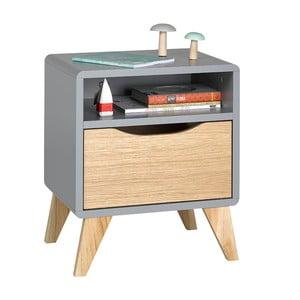 Šedo-hnědý noční stolek se zásuvkou JUNIIOR Provence Oskar