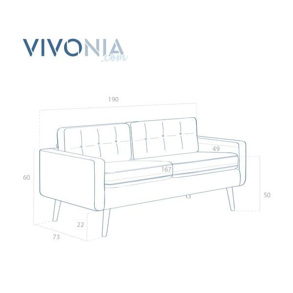 Pastelově modrá pohovka pro tři Vivonita Ina