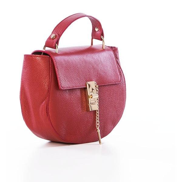 Červená kožená kabelka Federica Bassi Virgin