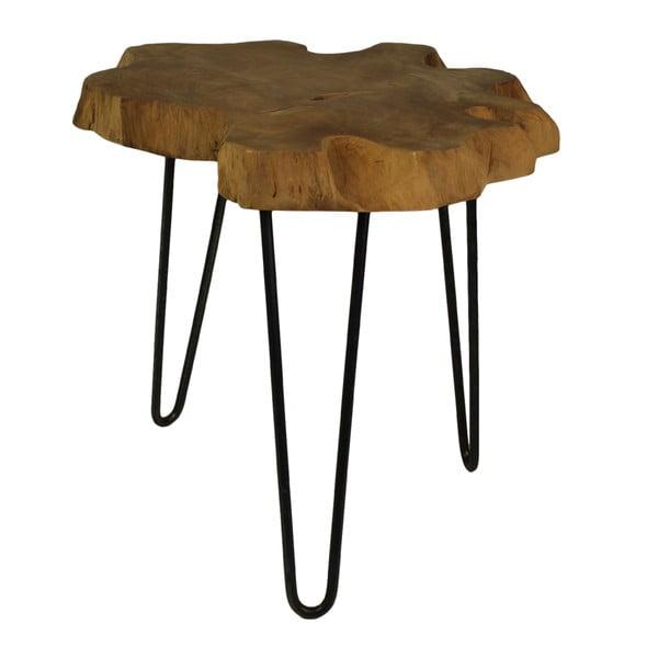 Odkládací stolek s deskou z teakového dřeva HSM collection Bollei, ⌀55cm