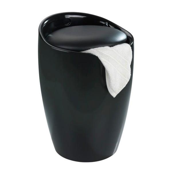 Candy fekete szennyestartó és ülőke egyben, 20 l - Wenko