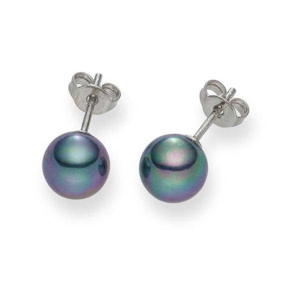 Antracitové perlové náušnice Pearls Of London Mystic