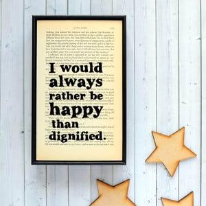 Plakát v dřevěném rámu Jane Eyre Happy and Dignified