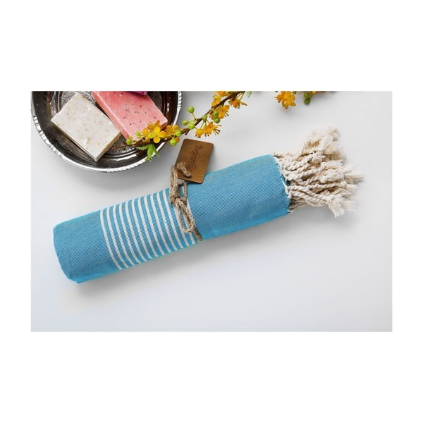 Hamam osuška Line Turquoise, 100x180 cm