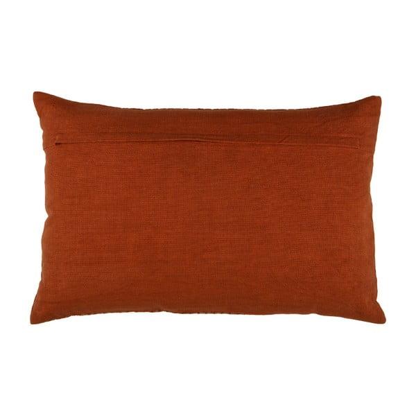 Hnědý bavlněný polštář BePureHome Flatter, 40x60cm