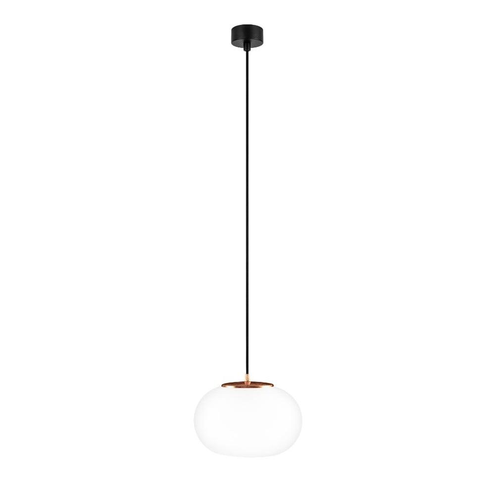Bílé závěsné svítidlo s černým kabelem a detailem v měděné barvě Sotto Luce Dosei