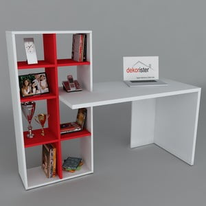 Pracovní stůl s knihovnou Win White/Red, 60x151x123,6 cm