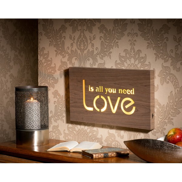 Obraz se svítícím nápisem Love, 42x24 cm