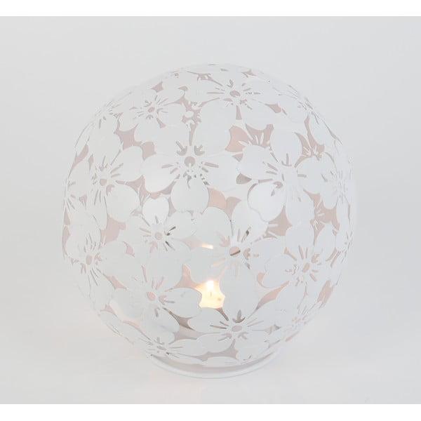 Kovový svícen Flowers, bílý