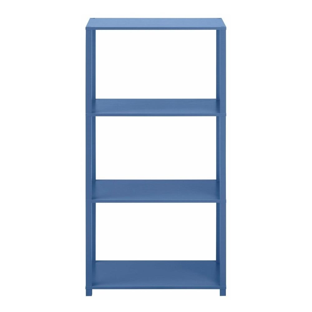 Modrá dřevěná třípatrová knihovna Støraa Damien