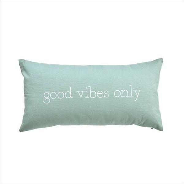 Mentolově zelený polštář Butlers Words Good Vibes Only