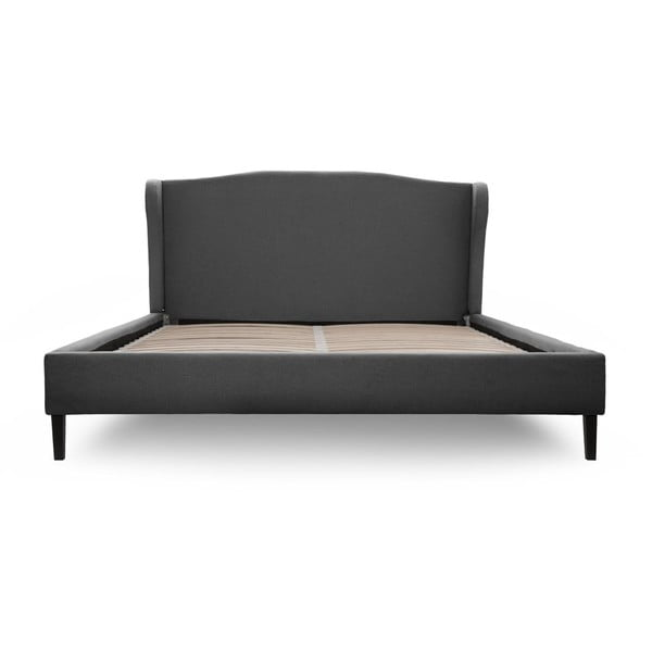 Tmavě šedá postel s černými nohami Vivonita Windsor,180x200cm