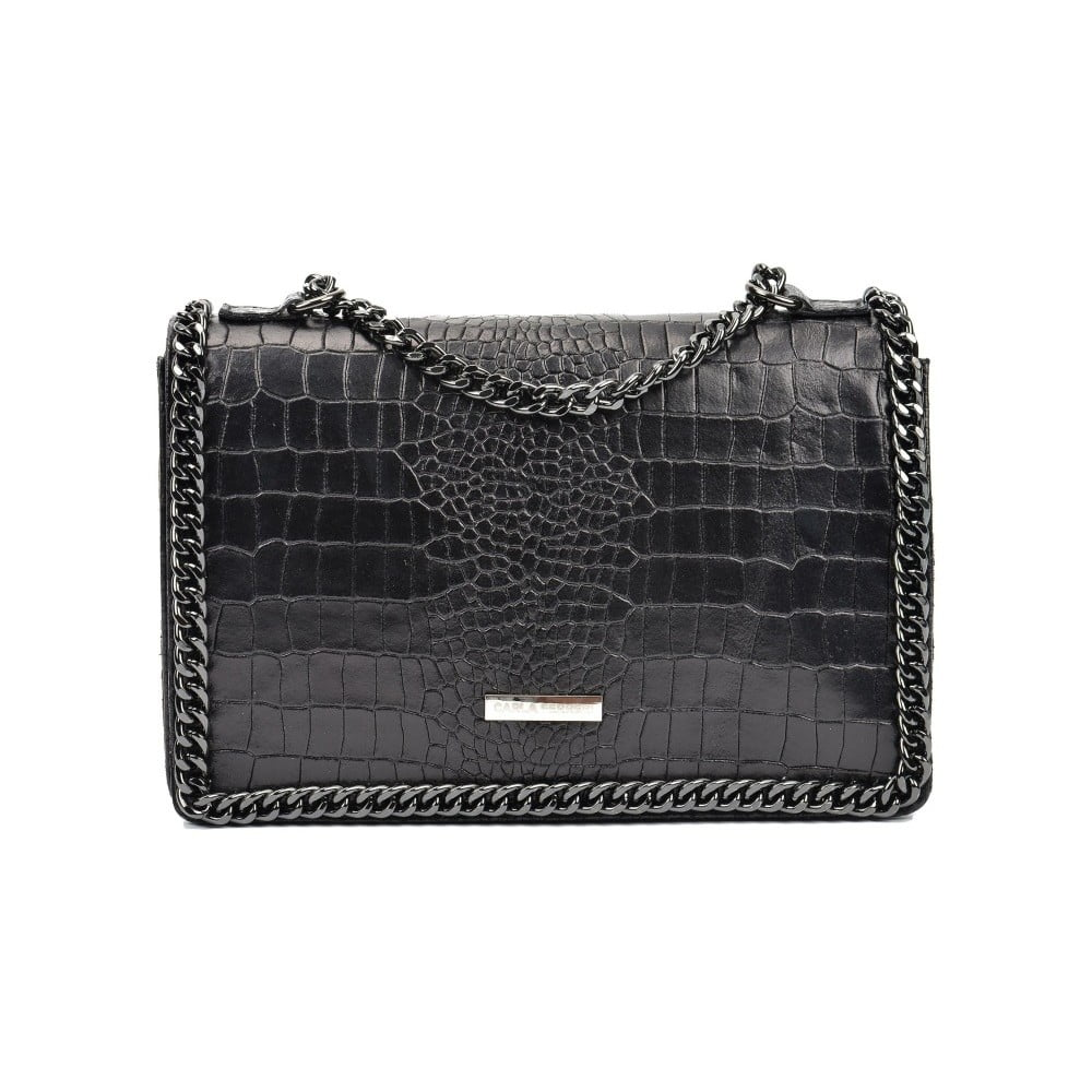 Černá kožená kabelka Carla Ferreri Gaia