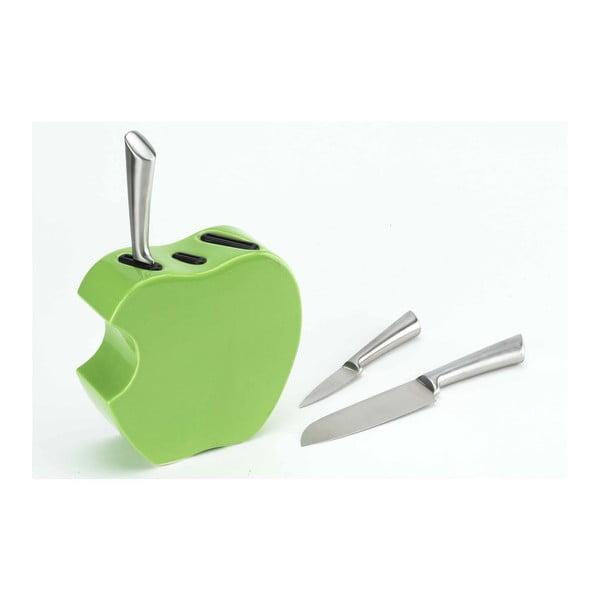 Set nožů se stojanem Green Apple, 3 ks