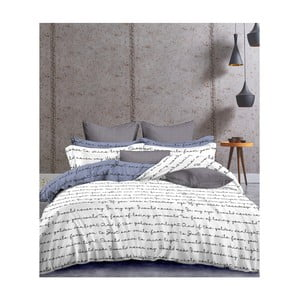 Lenjerie de pat din microfibră DecoKing Poem, 135 x 200 cm, alb - albastru