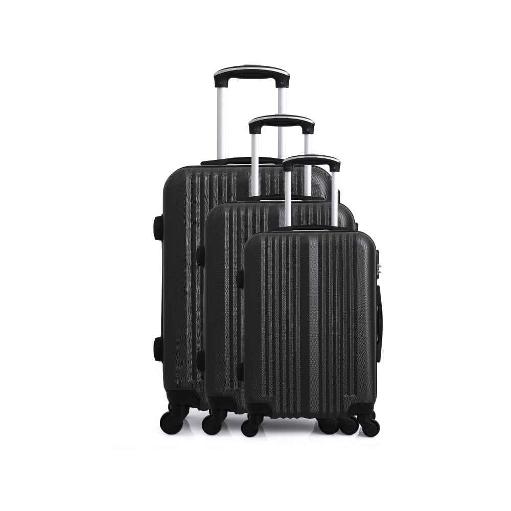 Sada 3 černých cestovních kufrů na kolečkách Hero San Diego
