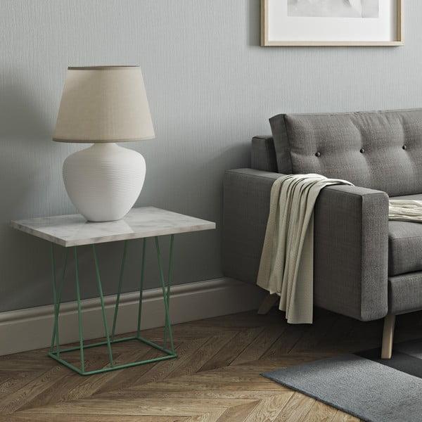 Bílý mramorový konferenční stolek se zelenými nohami TemaHome Helix, 50 cm