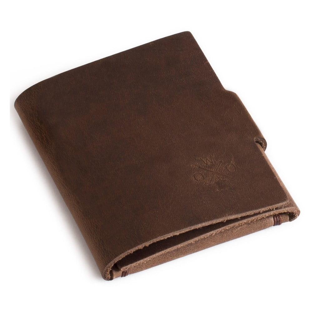 Hnědá kožená peněženka Woox Medius Fuscus