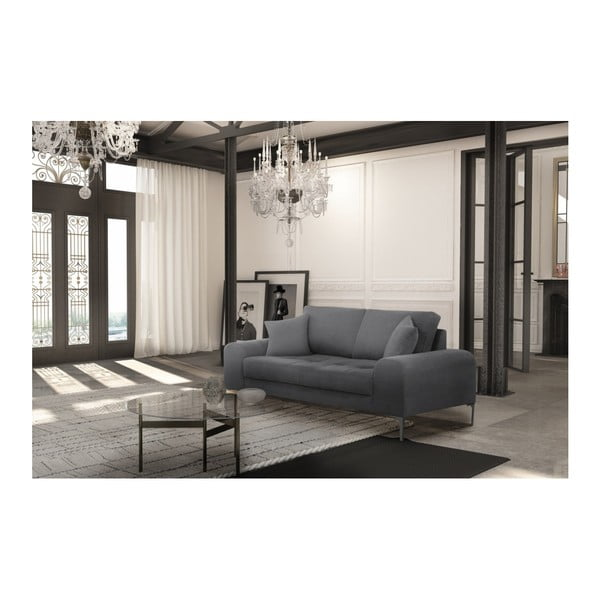 Set canapea gri închis, 2 scaune negre, o saltea 140 x 200 cm Home Essentials