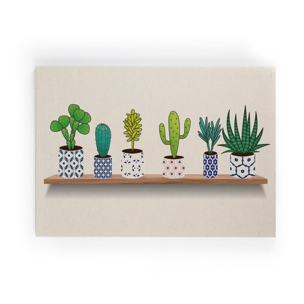 Lino Cactus Shelve vászonkép, 50 x 70 cm - Really Nice Things