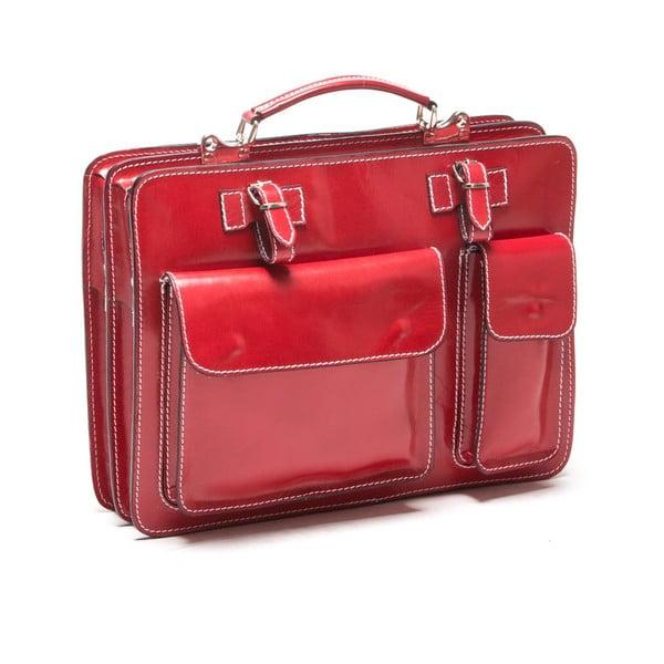 Červená kabelka s prošíváním