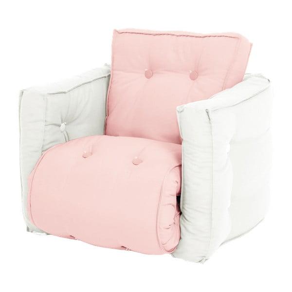 Fotoliu extensibil pentru copii Karup Mini Dice, roz deschis