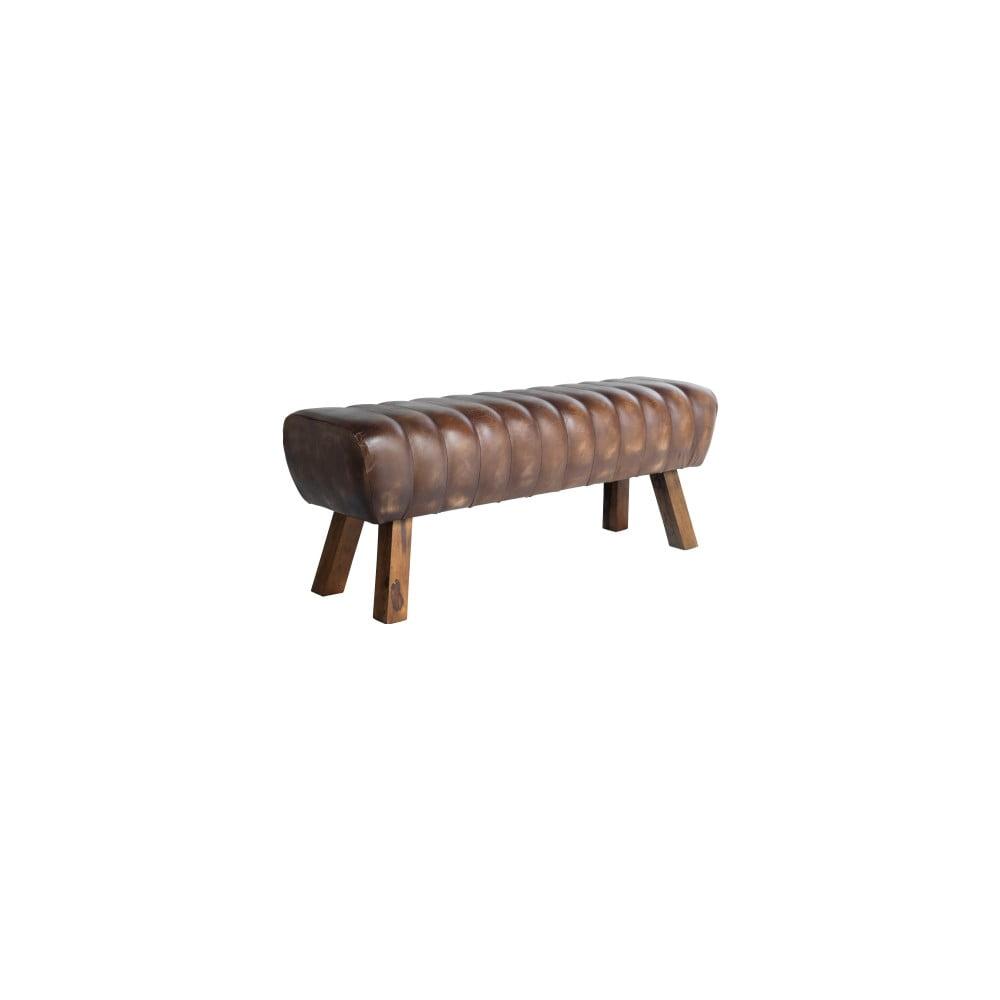 Hnědá kožená lavice Fuhrhome Santos