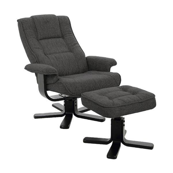 Antracytowy rozkładany fotel z podnóżkiem Actona Limbo
