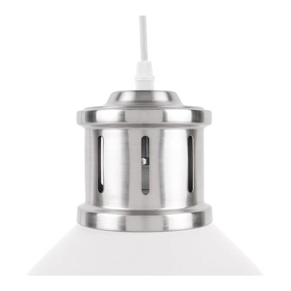Bílé závěsné svítidlo s detaily ve stříbrné barvě Leitmotiv Refine, ⌀33cm