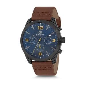 Pánské hodinky s hnědým koženým řemínkem a modrým ciferníkem Bigotti Milano Bruce