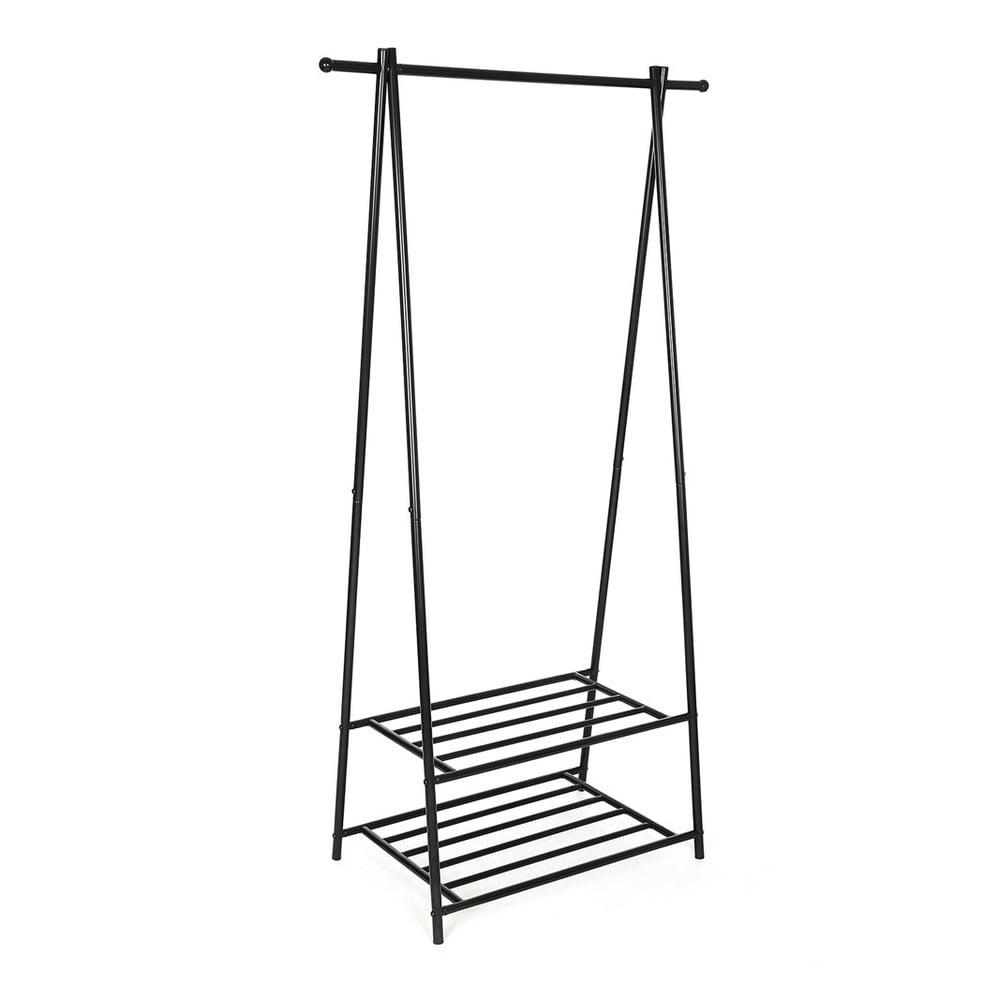 Kovový stojan s 2 policemi na oblečení Songmics, šířka 87,5 cm