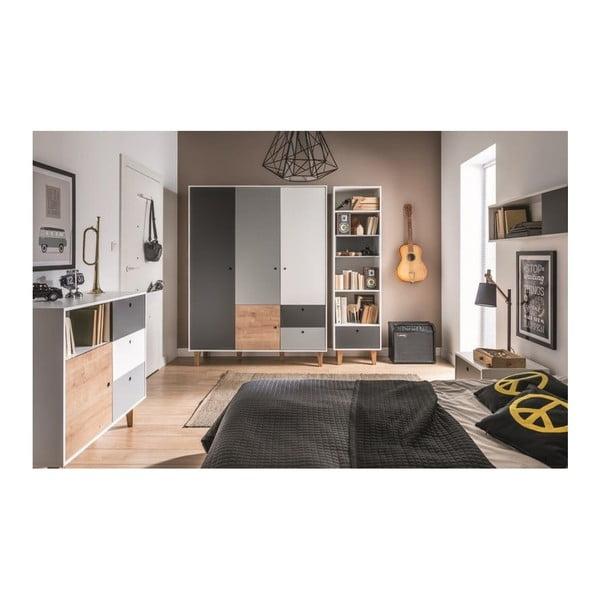 Bílo-šedá čtyřdveřová šatní skříň se dřevěným detailem Vox Concept