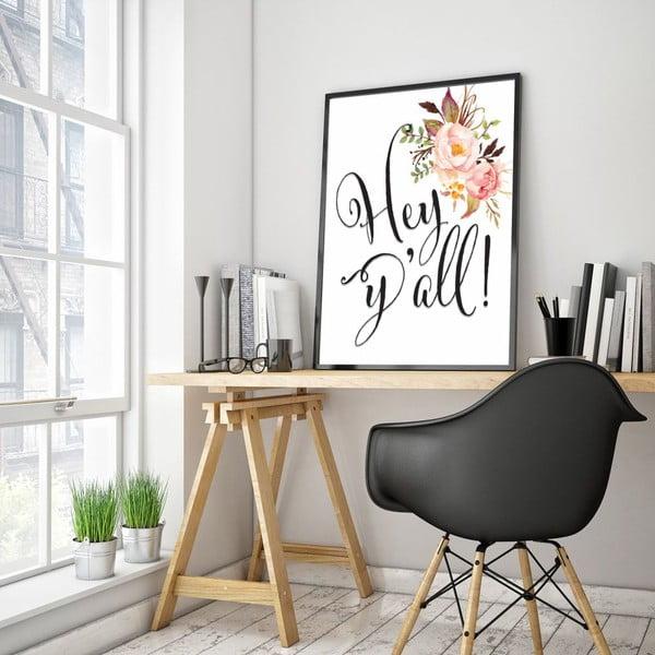 Plakát v dřevěném rámu Hey, 38x28 cm