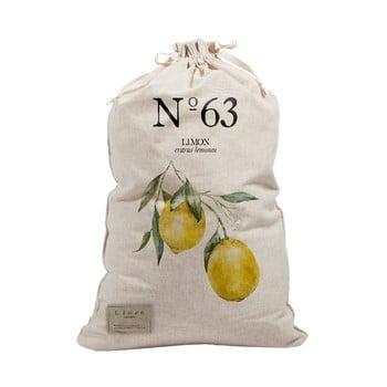 Sac textil pentru rufe Linen Bag Lemons, înălțime 75 cm imagine