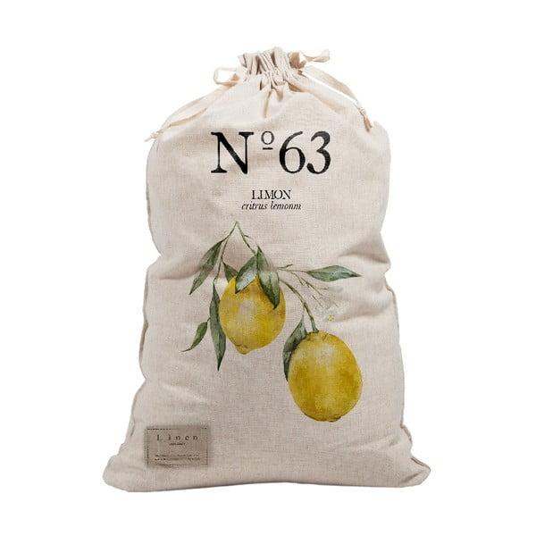 Látkový vak na prádlo Linen Couture Bag Lemons, výška 75 cm