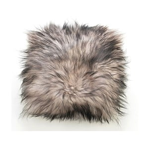 Oboustranný kožešinový polštář s dlouhým chlupem Silver, 50x50 cm