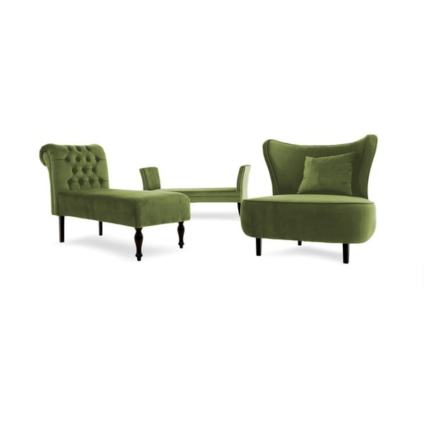 Olivově zelená lavice Vivonita Selma