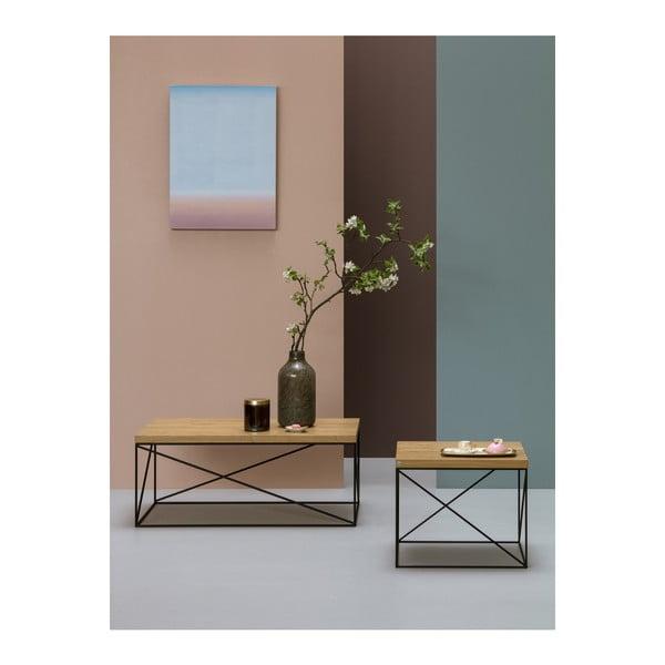Černý konferenční stolek s deskou z dubového dřeva take me HOME Hamburg, 53x53cm